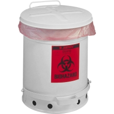 6 Gallon White Biohazard Waste Can, Foot-Operated Self-Closing SoundGard™ Cover