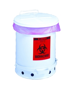 10 Gallon White Biohazard Waste Can, Foot-Operated Self-Closing Cover