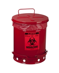 10 Gallon Red Biohazard Waste Can, Foot-Operated Self-Closing Cover
