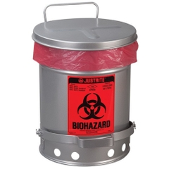 10 Gallon Silver Biohazard Waste Can, Foot-Operated Self-Closing SoundGard™ Cover