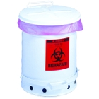 10 Gallon White Biohazard Waste Can, Foot-Operated Self-Closing SoundGard™ Cover