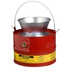 3 Gallon Red Drain Can w/Plated Steel Funnel