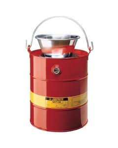 5 Gallon Red Drain Can w/Plated Steel Funnel