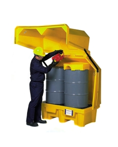 2-Drum Ultra-Hard Top P2 Spill Pallet (With Drain) - UltraTech 1083