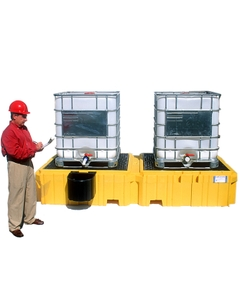 Ultra-Twin IBC Spill Pallet® - UltraTech 1140/1144 (Shown with Bucket Shelf)
