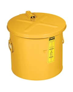 Dip Tank w/poly HDPE Liner, 19 ltr, self-close cover w/fusible link, optnl parts basket, Steel Yellow