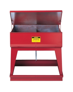 Rinse Tank, Twin Chamber Floor-Stand, two 4-gal chmbrs, foot-operate s/c cover, 2 plugs, Steel, Red