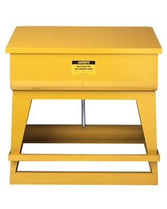 Rinse Tank, Floor-Standing, 83 litre, foot-operated self-close cover, drain plug, Steel, Yellow