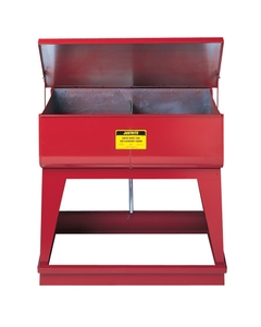 Rinse Tank, Twin Chamber Floor-Stand, two 9-gal chmbrs, foot-operate s/c cover, 2 plugs, Steel, Red