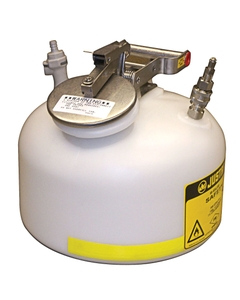 Round Quick-Disconnect In-Flow Safety Can, S/S or polypropylene fittings, 2 gallon, poly, White