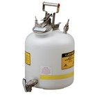 Disposal Can with faucet, Quick-Disconnect, S/S fittings for 1/4 tubing, 5 gallon, poly, White