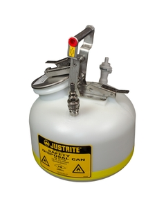 Quick-Disconnect Disposal Safety Can with fittings for 3/8 tubing, 2 gal., polyethylene, White
