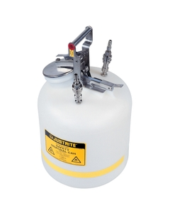 Quick-Disconnect Disposal Safety Can, stainless steel fittings for 3/8 tubing, 5 gal., poly, White