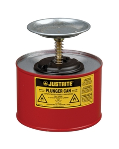 2 Quart Red Steel Plunger Dispensing Can