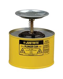 2 Quart Yellow Steel Plunger Dispensing Can