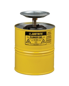 Plunger Dispensing Can, 1 gallon, perforated pan screen serves as flame arrester, Steel, Yellow