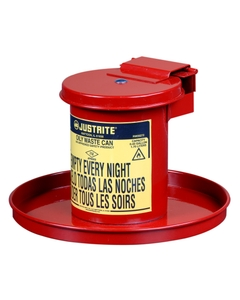 Benchtop Solvent Safety Can for long cotton tipped applicators, .45 gal., self-closing lid, Red