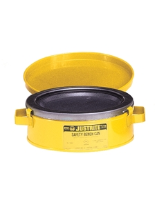 Bench Can to clean small parts in solvents, 2 ltr, plated steel dasher, hinged cover, Steel, Yellow