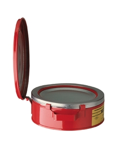 Bench Can to clean small parts in solvents, 2 quart, plated steel dasher, hinged cover, Steel, Red