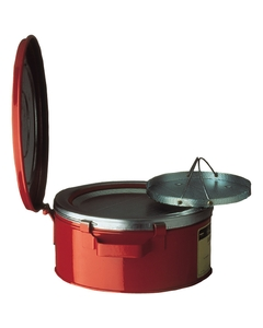 Bench Can with Parts Basket, 1 gallon, plated steel dasher, hinged cover, Steel, Red