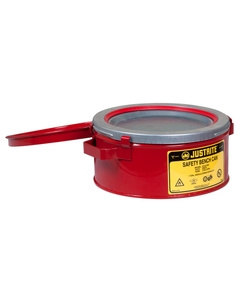 Bench Can without Parts Basket, 1 gallon, plated steel dasher, hinged cover, Steel, Red