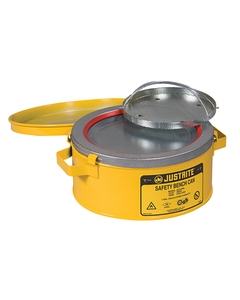 Bench Can with Parts Basket, 1 gallon, plated steel dasher, hinged cover, Steel, Yellow