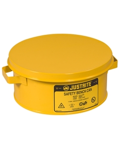 Bench Can without Parts Basket, 4 liter, plated steel dasher, hinged cover, Steel, Yellow