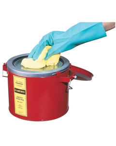 Swab Pail with dasher plate for sponging operations, 6 quart, hinged cover, Steel, Red.