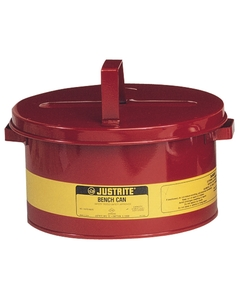 Bench Can to clean small parts in solvents, 2 gallon, plated steel dasher, hinged cover, Steel, Red