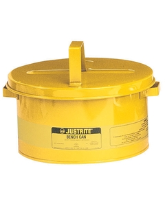 Bench Can to clean small parts in solvents, 8 ltr, plated steel dasher, hinged cover, Steel, Yellow