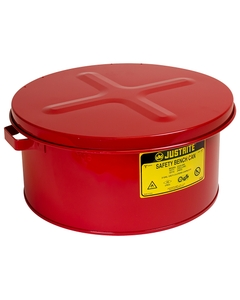 Bench Can to clean small parts in solvents, 3 gallon, plated steel dasher, hinged cover, Steel, Red