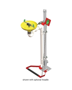 Eyewash Station, Pedestal Mount, Galvanized Pipe, Open ABS Bowl