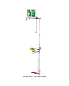 Combination Safety Shower w/ Eyewash Station, Floor Mount, Open ABS Bowl, Galvanized Pipe, Top Inlet