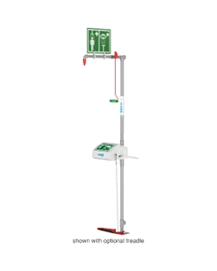 Combination Safety Shower w/ Eyewash Station, Floor Mount, Closed ABS Bowl, Stainless Steel Pipe, Bottom Inlet