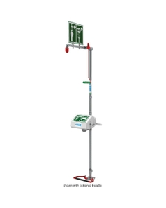 Combination Safety Shower w/ Eyewash Station, Floor Mount, Closed ABS Bowl, Stainless Steel Pipe, Top Inlet