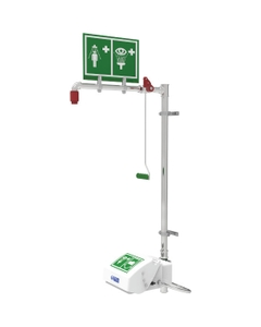 Combination Safety Shower w/ Eyewash Station, Wall Mount, Closed ABS Bowl, Galvanized Pipe
