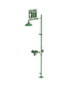 Laboratory Combination Safety Shower w/ Eyewash Station, Floor Mount, Stainless Steel Pipe