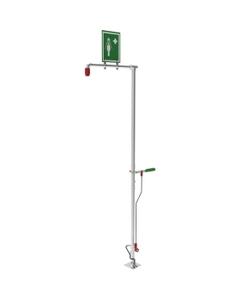 Self-Draining Drench Safety Shower, Floor Mount, Galvanized Pipe