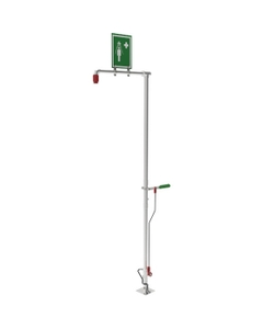 Self-Draining Drench Safety Shower, Floor Mount, Stainless Steel Pipe