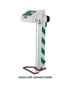 Freeze Protected Emergency Eyewash Station, Pedestal Mount, Closed ABS Bowl, Galvanized Pipe, 120v, C1D2