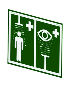 Universal Safety Shower and Eyewash Station Sign For Wall Mounting