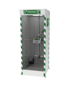 Emergency Cubicle Safety Shower w/ Eyewash Station, Covered ABS Bowl, Sump Pump, 120v