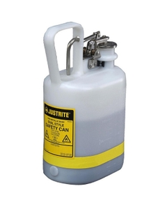 1 Gallon, Polyethylene Type I Safety Can, w/Stainless Steel Hardware, White, Oval