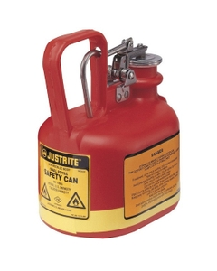 1/2 Gallon, Polyethylene Type I Safety Can w/Stainless Steel Hardware, Red, Oval