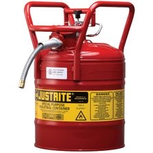 """5 Gallon, Steel Type II DOT Safety Can, 5/8"""" Dia. Hose, Red"""