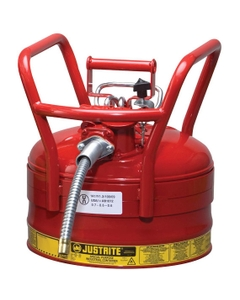 """2.5 Gallon, Steel Type II DOT Safety Can, 5/8"""" Dia. Hose, Red"""