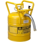 """5 Gallon, Steel Type II DOT Safety Can, 1"""" Dia. Hose, Yellow"""