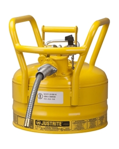 """2.5 Gallon, Steel Type II DOT Safety Can, 5/8"""" Dia. Hose, Yellow"""
