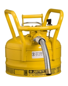 """2.5 Gallon, Steel Type II DOT Safety Can, 1"""" Dia. Hose, Yellow"""