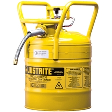 """5 Gallon, Steel Type II DOT Safety Can, 5/8"""" Dia. Hose, Yellow"""